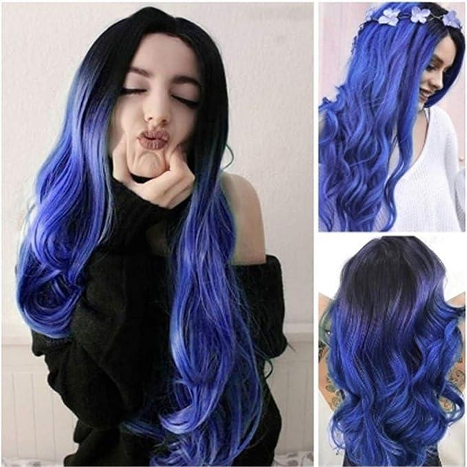 Peluca llena sintética recta larga rizada del pelo negro azul de Cosplay Cabello largo y rizado teñido degradado peluca morado azul grande esponjoso ...