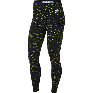 1d66995ae7d5d0 Nike Womens Leg-A-See All Over Swoosh Print Legging Black/Cyber Volt/White  AR3120-011 Size X-Small at Amazon Women's Clothing store: