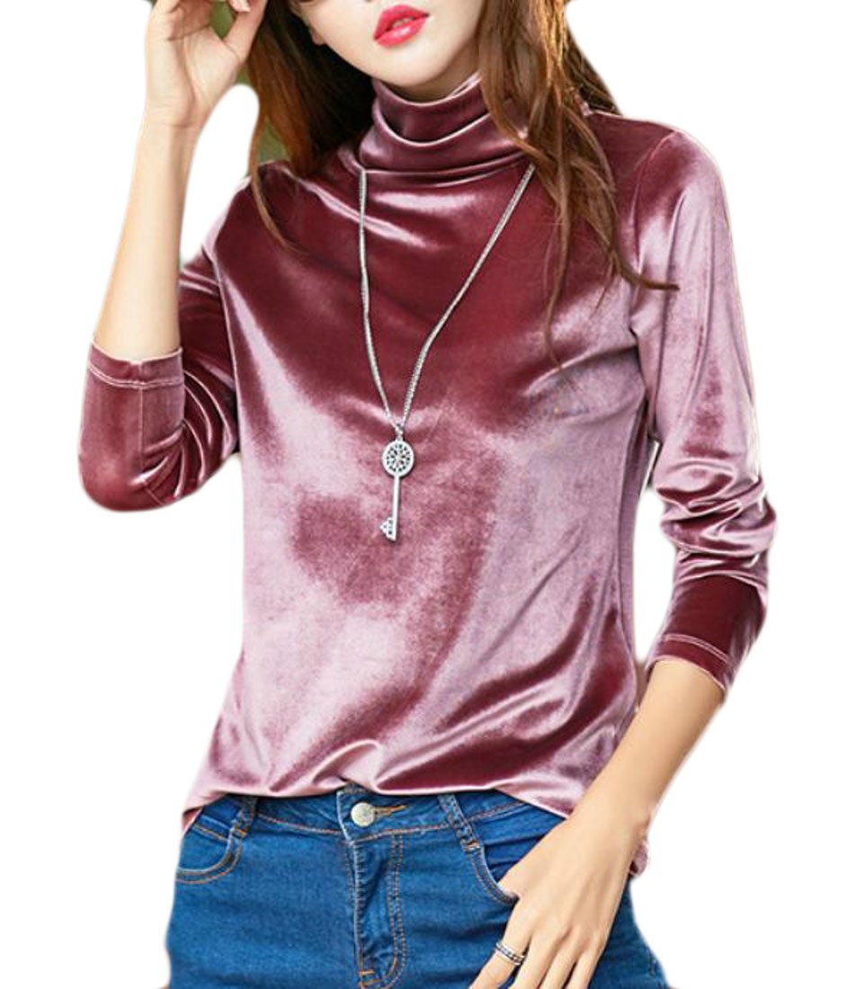 Big Tang Women's Long Sleeve Slim Fit Velour Turtleneck Top T-Shirts Pink XS