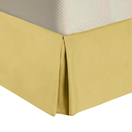 California King Bed Skirt.Royal Tradition Solid 300 Thread Count Pure Cotton California King Bed Skirt Gold Pleated Tailored Bedskirts With 15 Drop And Split Corners