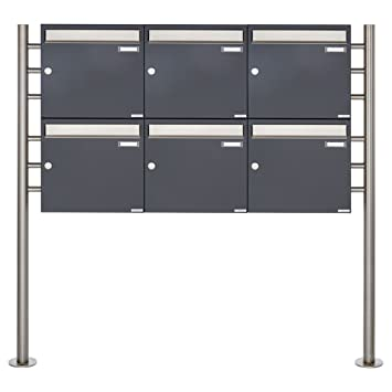 6er Standbriefkasten - 6 fach Briefkastenanlage Design BASIC 381 -  Briefkasten Manufaktur Lippe (6 Parteien, waagerecht, Edelstahl / RAL 7016  ...