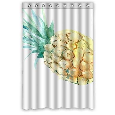 Amazon.com: Dongmen Pineapple Design Mildew-Free PEVA Shower ...