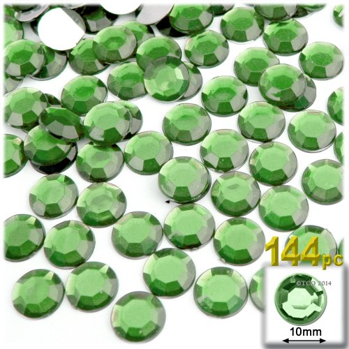 The Crafts Outlet 144-Piece Round Rhinestones, 10mm, Peridot Light Green