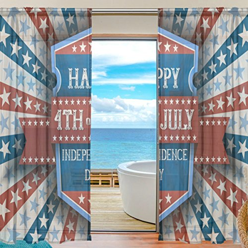 Happy 4Th Of July Patriotic Independence Day Window Sheer
