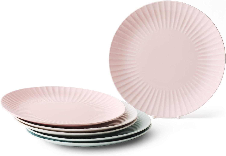 ZEN Pleats Porcelain Dinner Plates 11 Inch Set of 6 (Mixed Color)