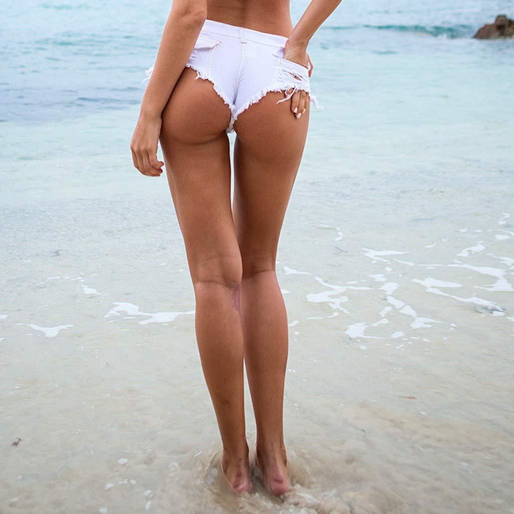Kaister Bouton Femme Taille Basse Short en Jean Super Mini Pantalon Chaud