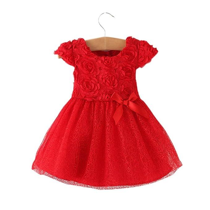 Amazon Com Wennikids Baby Girls Red Rose Flower Christening