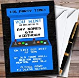 Blue Arcade Gaming Personalized Childrens Birthday Party Invitations