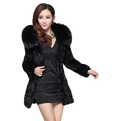 Fur Story Women's Long Real Mink Fur Coat with Big Fox Fur Hood and Mink Fur Hem