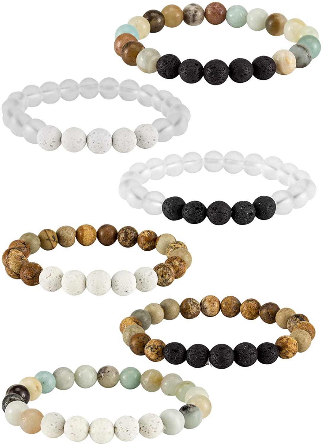 6 Pcs Lava Stone Bead Bracelet, Natural Gemstone Stretchy Bracelets- Aromatherapy Essential Oil Diffuser Healing Chakras Agate Crystal Elastic Lucky Bracelets Christmas gifts