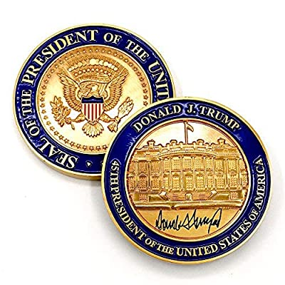 Trump Coin - US President (45th) Donald J. Trump, White House POTUS Signed Challenge Coin & Trump Inauguration Lapel Pin Set: Toys & Games