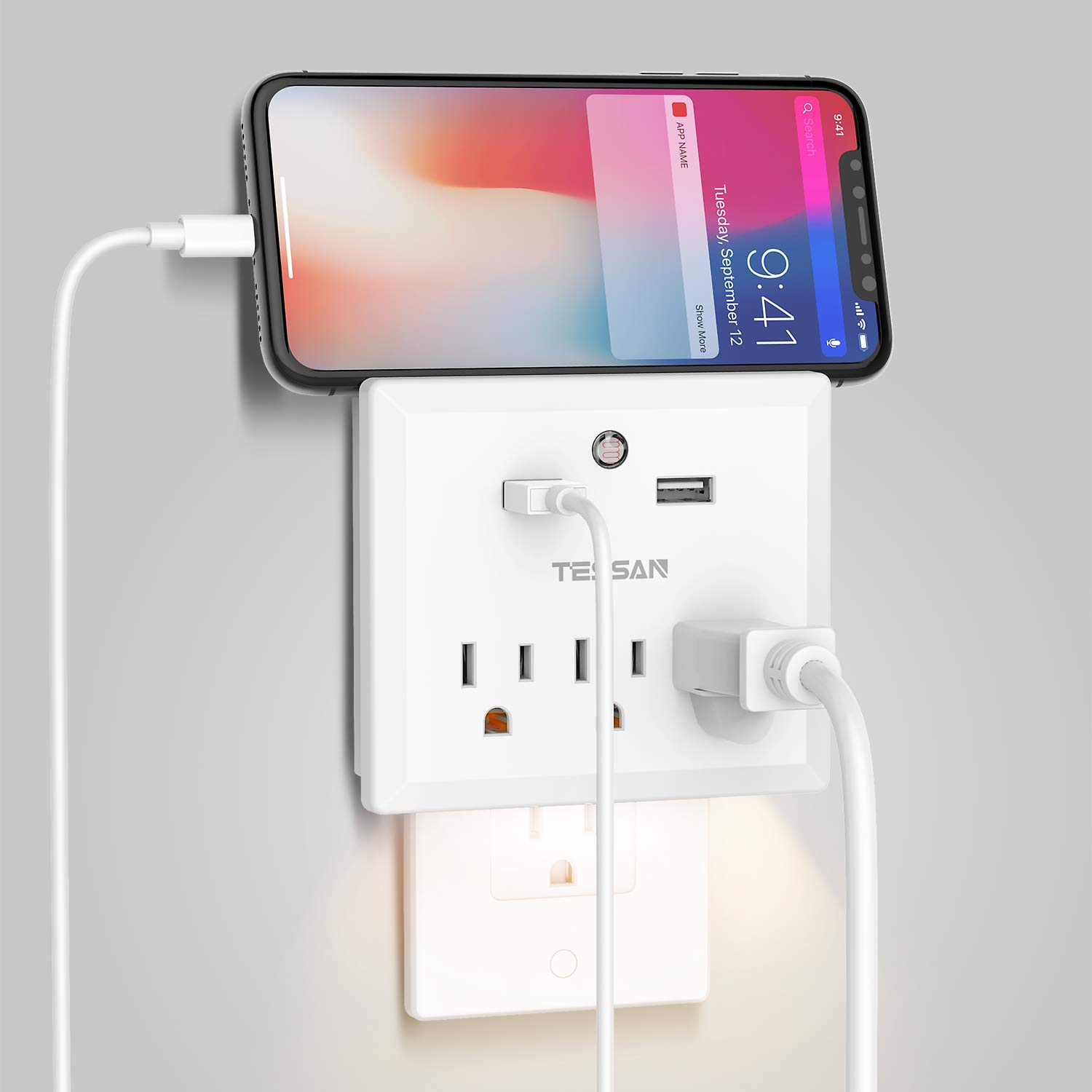 USB Wall Outlet Extender with Night Light, Multi Outlet Plug USB, Travel Power Strip for Cruise Ship