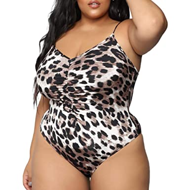 3b2301ea938 ICNCVKX 2019 Lingerie for Women Sexy Crotchless Leopard Print One Piece Plus  Size Swimsuit Printed Brown  Amazon.co.uk  Clothing