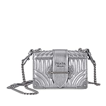 94b1dc04c7 Amazon.com: Prada Women's Cahier Metallic Leather Shoulder Bag ...