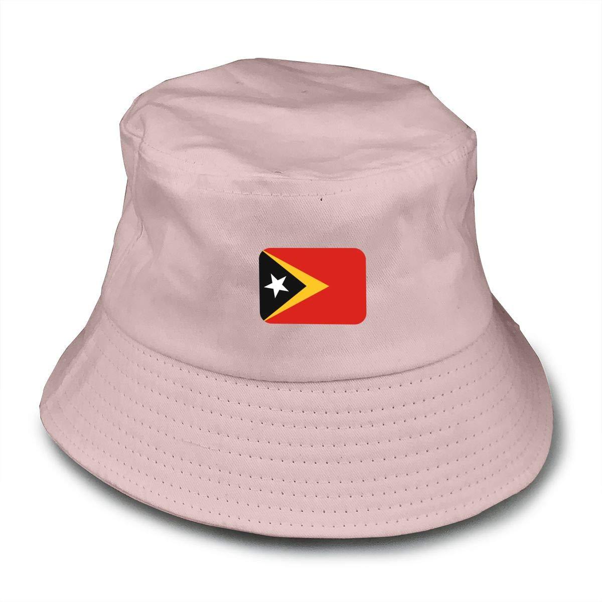 NDFGR East-Timor Unisex Cotton Packable Black Travel Bucket Hat Fishing Cap
