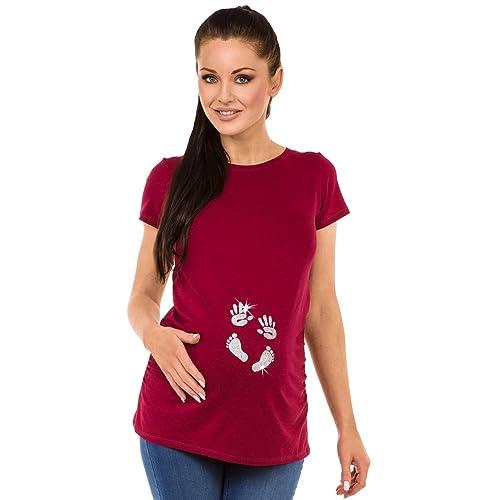 Zeta Ville - Camiseta Premamá T-shirt huella manos del bebé - para mujer -