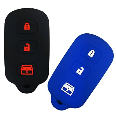 Coolbestda 2Pcs Silicone Smart Key Fob Skin Cover Protector Keyless Jacket Remote Holder for 2Toyota 2003-2007 Sequoia 1999-2009 4-Runner Panic HYQ12BBX Black Blue: Automotive
