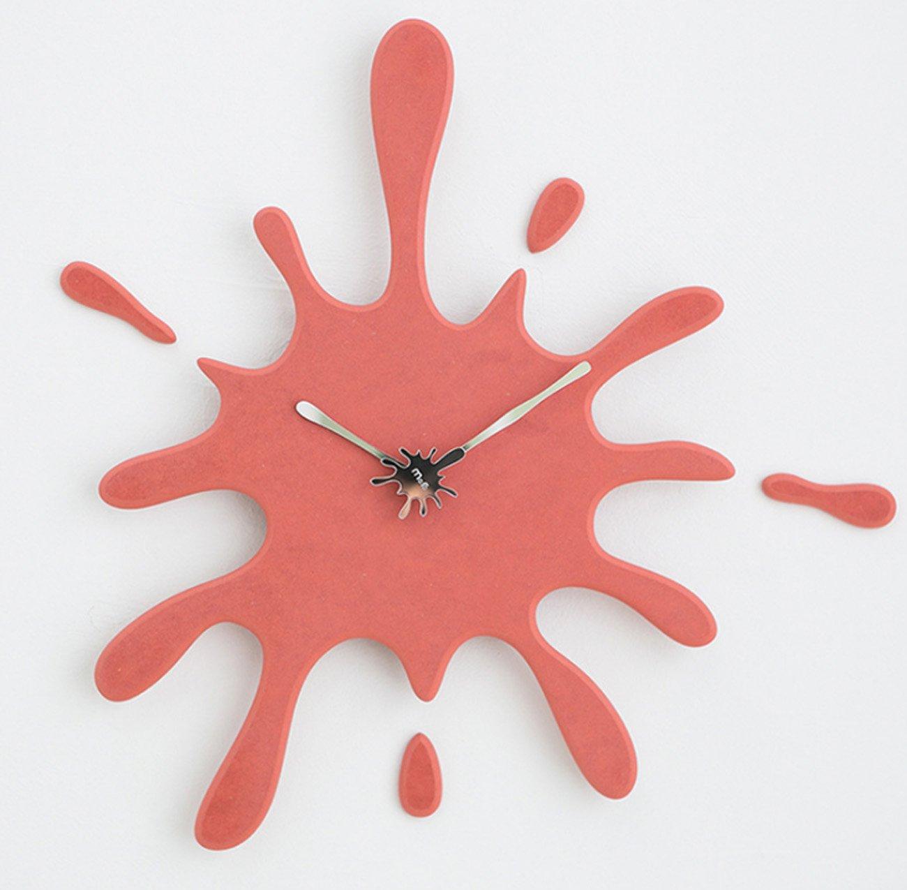 クロック パーソナリティクリエイティブ木製の壁時計、シンプルなモダンな家サイレントハンギング時計アートウォールデコレーション時計、リビングルームベッドルームスタディルームホテルの装飾品(49.4 * 47.5cm) ウォールオーナメント (色 : 赤) B07DYH8V3Q 赤 赤