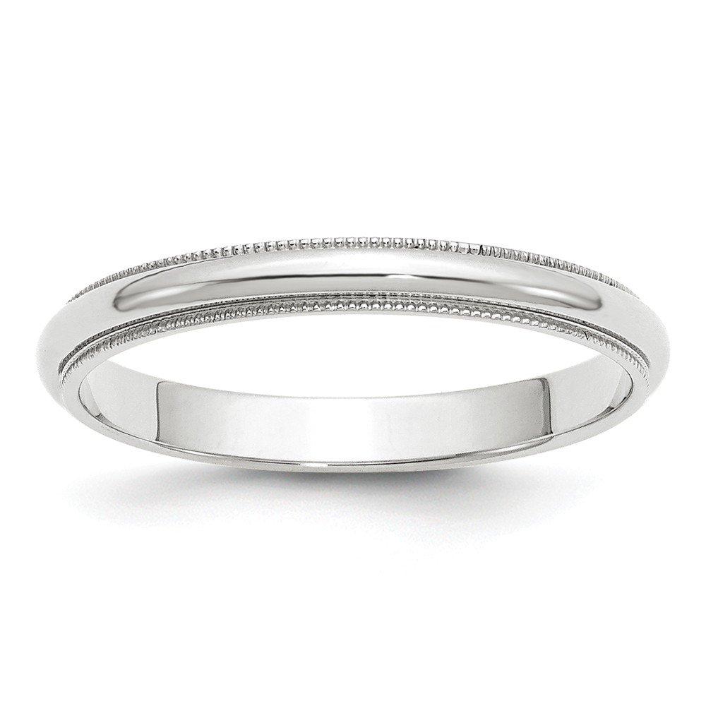 10KW 3mm Milgrain Half Round Band Size 14