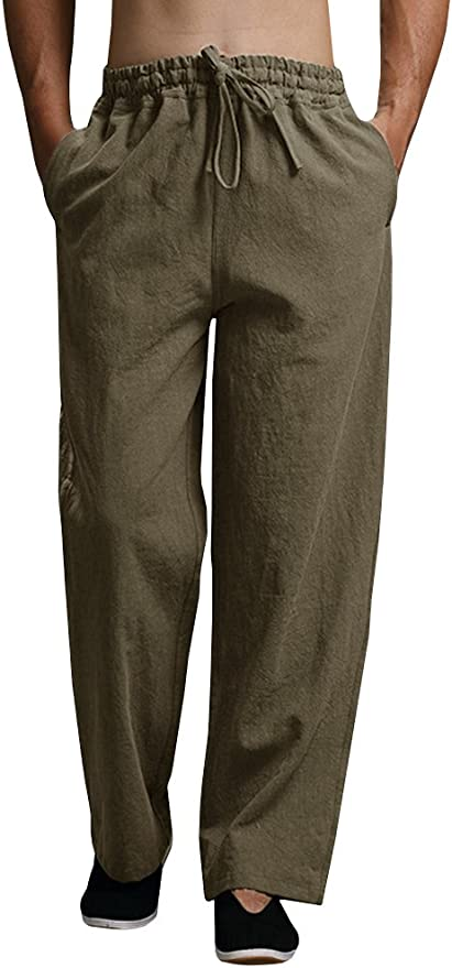 New Summer Leisure Trousers 6 Colors 100/% Linen Cotton Elastic Waist Men Pants Regular Straight Bottom Flax Khaki M