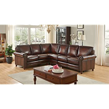 Amazon Com Elements Easton Top Grain Leather Sectional In