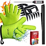 Lefu Mae BBQ Oven Gloves Heat Resistant, Meat Thermometer, Meat Shredder Claw and BBQ Grill Mat (4 in 1) BBQ Grill Accessory for Indoor Outdoor Cooking with Gift Box