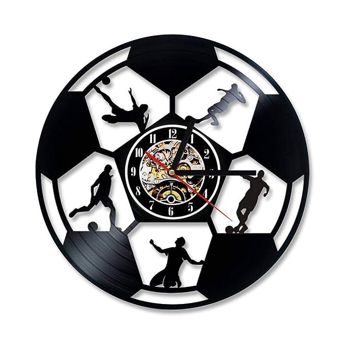 HDNFW Reloj de Pared de Vinilo Balón de fútbol Reloj de Registro ...