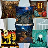 6 Pack Halloween Party Cushion Pillow Case Cover 18x18inches(45x45cm) Twin Sides,Set Home Decoration for Couch Bed/Sofa