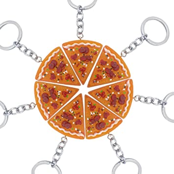 DCFVGB Pizza Colgante Llavero Llavero Comida Creativa Pizza ...