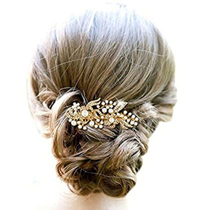 Kercisbeauty - Peines decorativos de boda con perlas doradas para novia 7829010f3c32