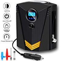 TECHVIDA Air Compressor Portable Tire Inflator DC 12V Led Lighting Air Inflator Pump for Cars, Air Inflator with Digital…