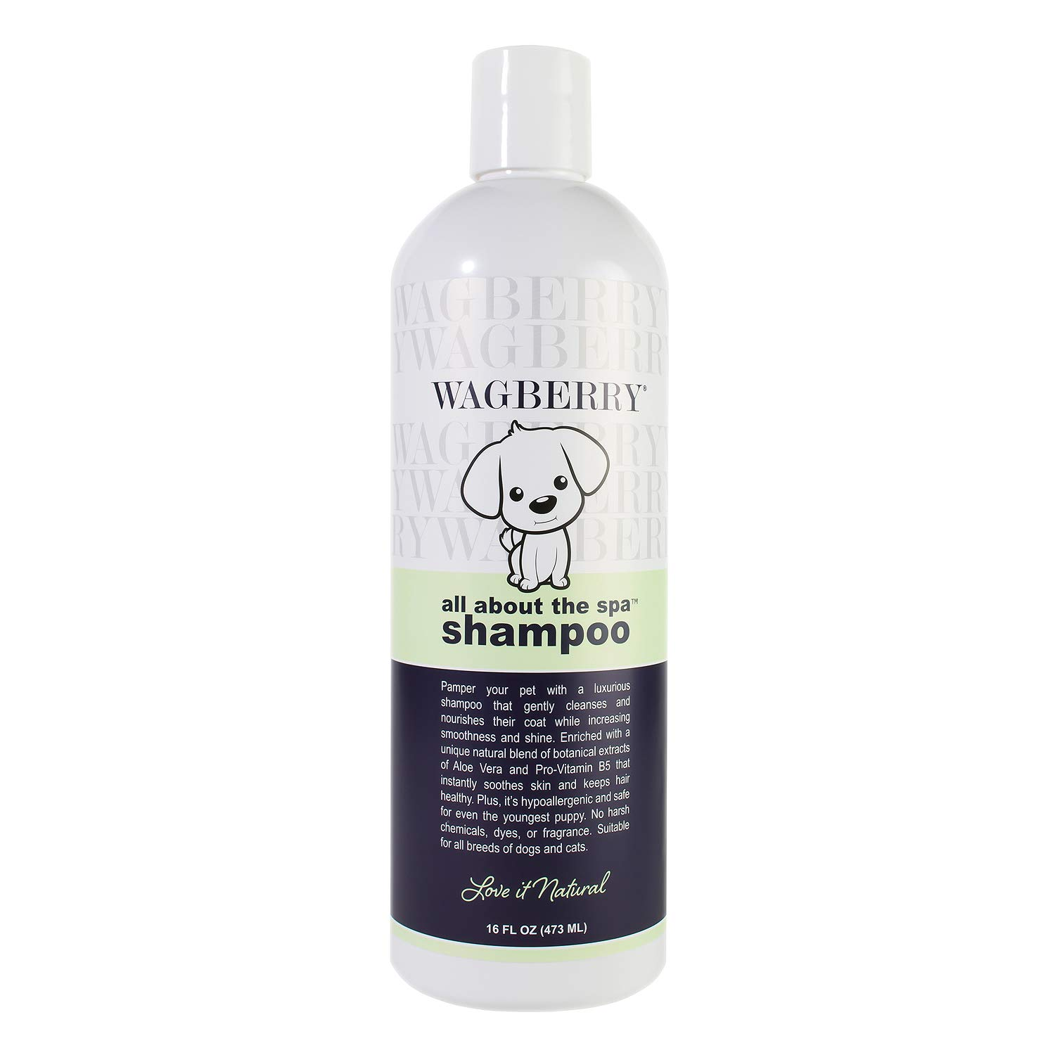 Wagberry All About The Spa Shampoo - Dog Shampoo And Conditioner, Wash For All Pets Puppy & Cats With Aloe Vera For Relieving Dry Itchy Skin - LOVE IT NATURAL, Made In USA, 16oz
