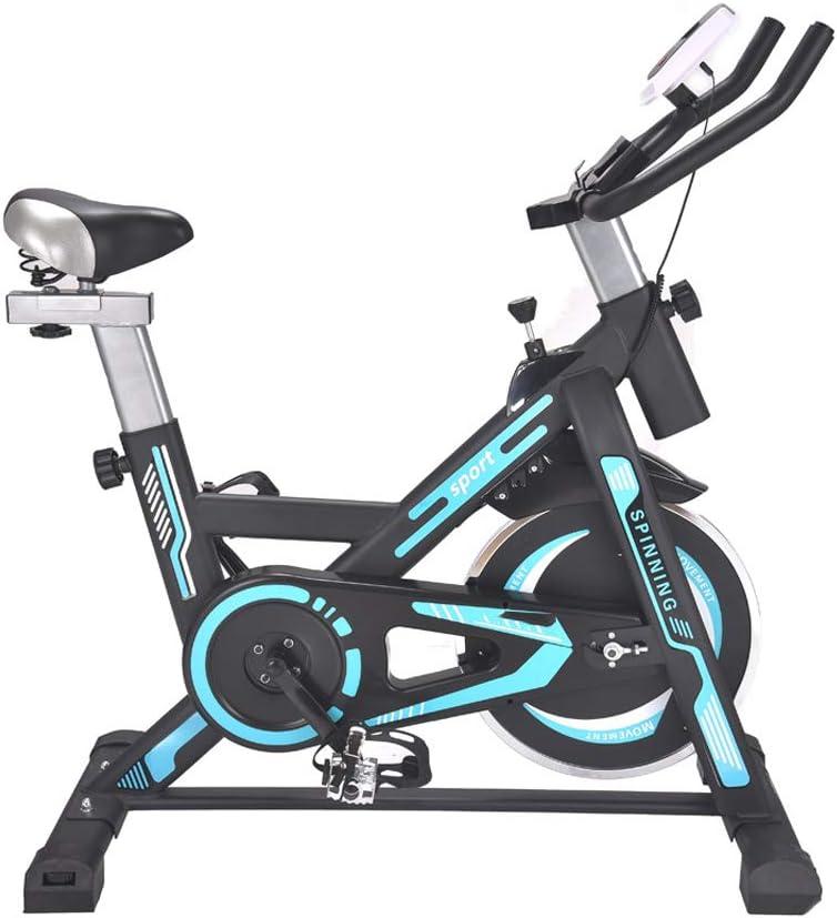 KuaiKeSport Bicicleta Spinning Profesional,Indoor Cycling Sensor de Pulso LCD Pantalla Electronica,Resistencia Variable Asiento y Manillar Ajustables Bicicleta Estatica con Rueda Móvil Capacidad,Blue: Amazon.es: Deportes y aire libre