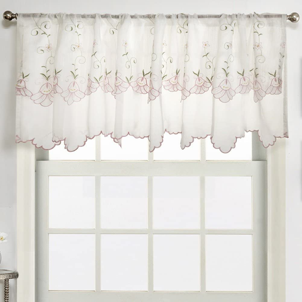 ZHH Pastoral Style Two-Layer Embroidered Floral Curtain Window Valance 59 by 17-inch,Pink Morning Glory Pattern