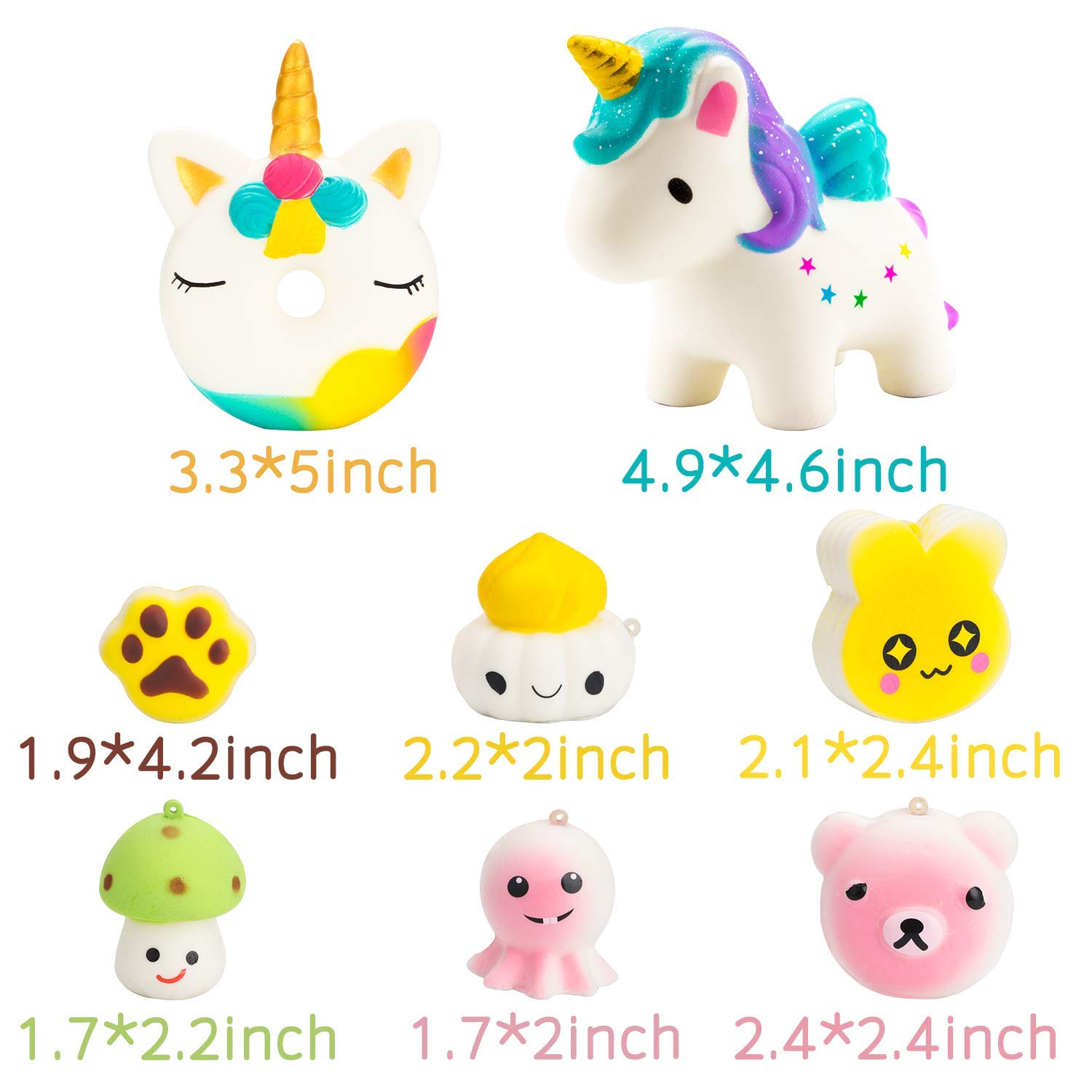 BeYumi Random 42 PCS Mini Squishy Toys 40 Kawaii Food Squishy 2 Animal Squishy Soft Cream Scented Slow Rising Squeeze Toys, Phone Straps for Kids Adults Party Favor by BeYumi (Image #5)