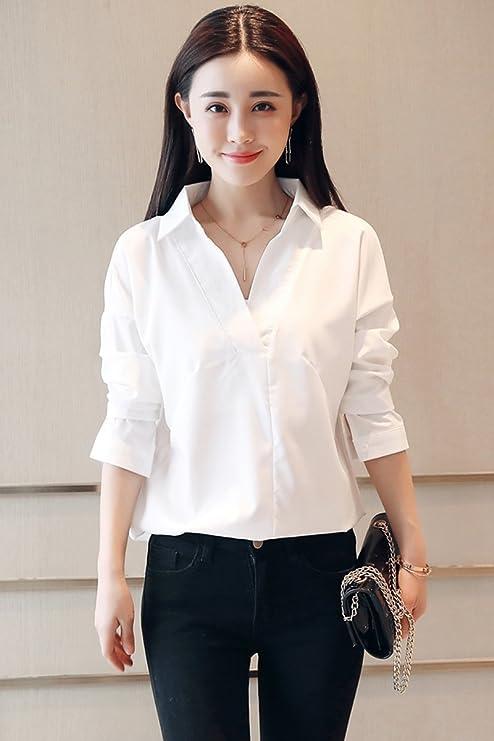 XXIN Nieve Tejida Camisetas Mujer Cuello V Manga Larga Camisa Blanca Y Floja/Lace Stitching/Abrir La Camiseta/XL/Blanco: Amazon.es: Deportes y aire libre