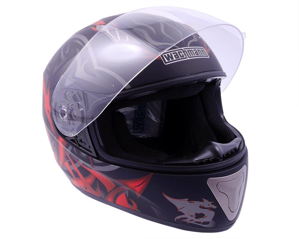 WACHMANN WA-20 Eques schwarz//rot gl/änzend Integralhelm Motorradhelm Gr/ö/ße XS Rollerhelm