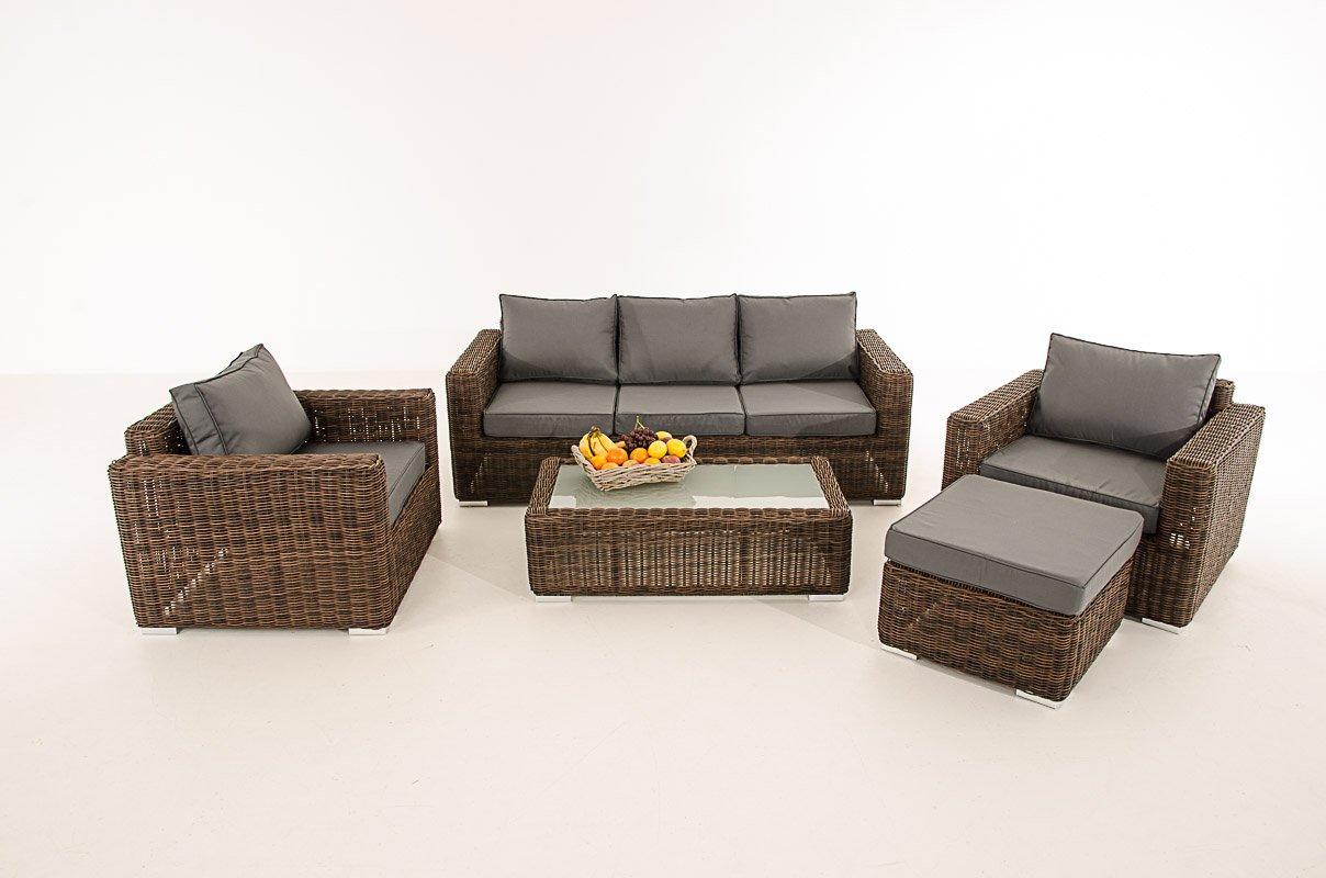 Mendler 3-1-1 Gartengarnitur CP053 Sitzgruppe Lounge-Garnitur Poly-Rattan ~ Kissen eisengrau, braun-meliert