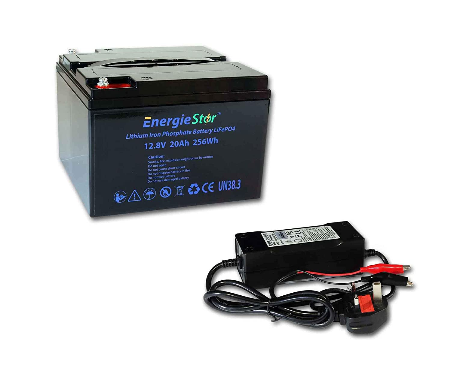 LiFePo4 Battery 12.8V Lithium-Ion Iron Phosphate 12V Leisure Solar Caravan 6Ah, Charger only
