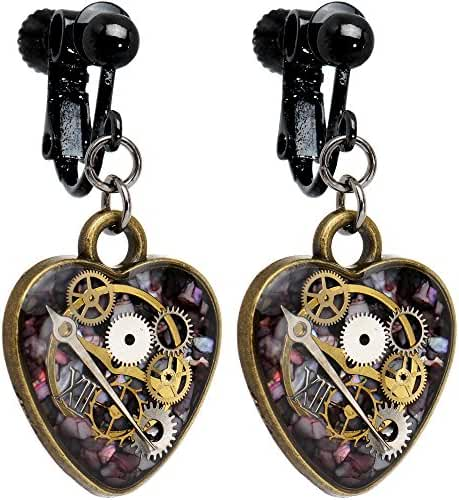 Body Candy Handcrafted Steal My Heart Steampunk Intricate Inlay Watch Gear Heart Clip on Earrings