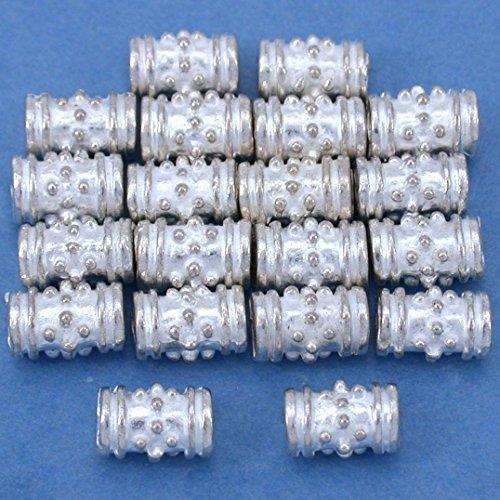 Beads Silver Plt Beading (15g Bali Tube Beads Silver Plt Beading 5x8mm Approx 15)