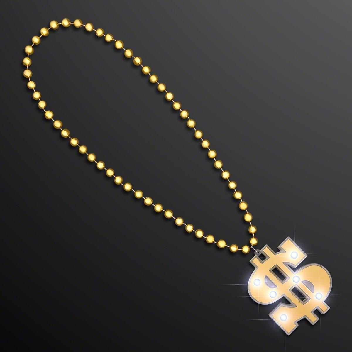 Light Up Dollar Sign Bling on Beads Novelty Necklace (Set of 12)