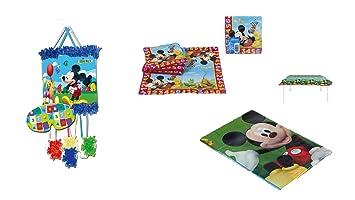 ALMACENESADAN 1126, Pack decoración Fiesta y cumpleaños Mickey Mouse; Compuesto por piñata, Mantel de Fiesta de plástico 120x180 cm y Pack de 20 ...