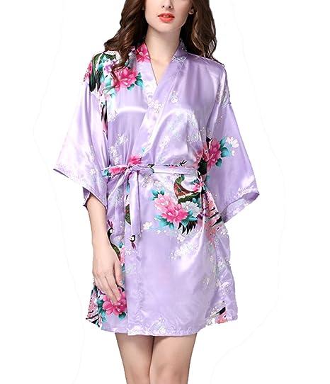 TT Global TieNew Camisón Mujer kimono Satén Pijamas Corta Kimono Japones Seda Encaje 1/2