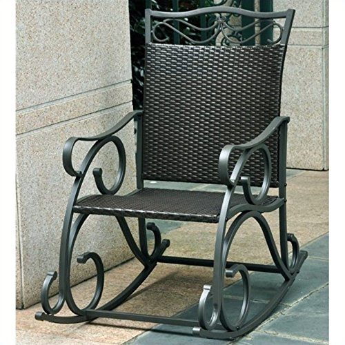 International Caravan 523816 Wicker Resin/Steel Porch Rocker, Antique Black (Traditional Rocker Porch)