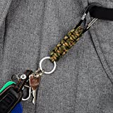 EOTW Paracord Keychain With Carabiner Military Braided Lanyard Utility Survival Key chain Lanyard King Ring Hook For Keys Knife Flashlight Best For Outdoor Camping Hiking Backpack Black+Camo 4 Pack