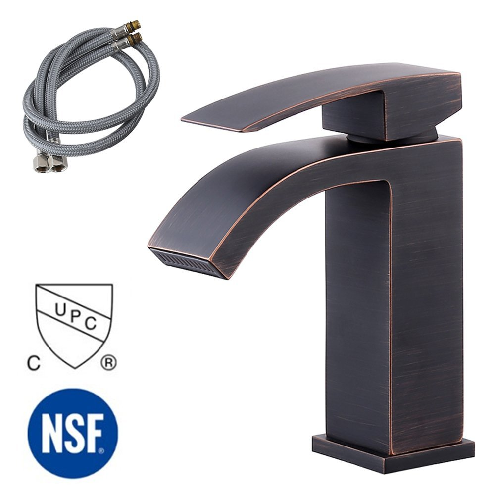 KES cUPC NSF Certified Brass Lead-Free Waterfall Vanity Sink Faucet with Rectangular Spout for Lavatory Single Hole, Oil Rubbed Bronze, L3109ALF-7