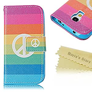 (Not for S4) Samsung S4 mini Case - Mavis's Diary Fashion Painted Series Foldable PU Leather Credit Card Pocket Design with Magnetic Clasp Flip Cover Case for Samsung Galaxy S4 Mini I9190 I9192 I9195 with Soft Clean Cloth (Colorful Stripe)