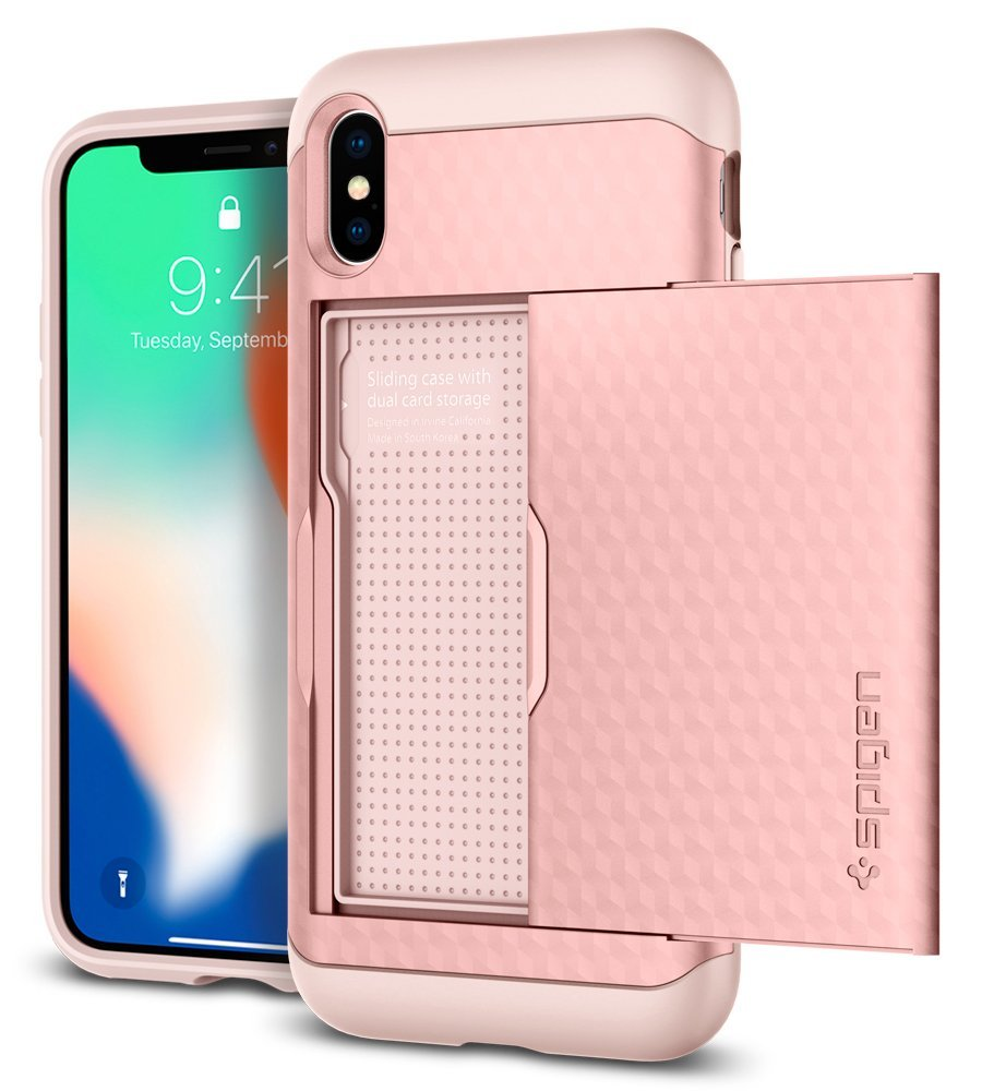 Spigen Apple Iphone X Crystal Wallet Case Rose Gold Xs Plus Anti Shock With Card Slot Slim Armor Casing Cell Phones Accessories