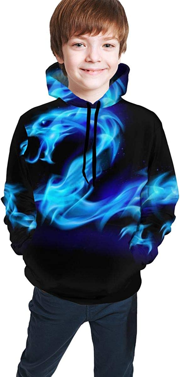 Blue Dragon Students Hooded Sweate Pullover Drawstring Pocket Durable Coat for Gril